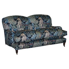 New George Smith Signature Arm Sofa with William Morris Forest Linen Upholstery
