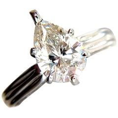 New GIA 2.00 Carat Pear Brilliant Diamond Ring I / Si-1 Solitaire Class Platinum
