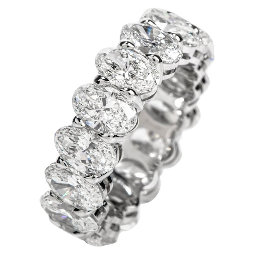 GIA Oval 8.04 Carat Diamond Platinum Eternity Band Ring