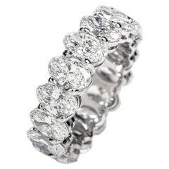GIA Oval 8.04 Carat Diamond Platinum Eternity Band Ring