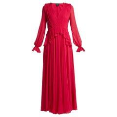 NEW Giambattista Valli Gathered Silk-Chiffon Gown IT44 US 6-8