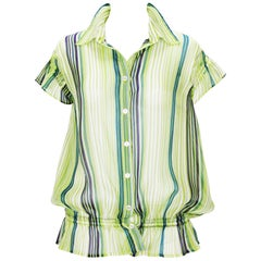 New GIANFRANCO FERRE WOMAN Sexy Sheer Striped Button Up Top Blouse size L