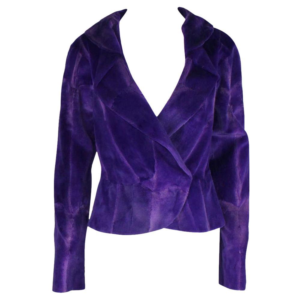 NEW Gianni Versace Couture Purple Fur Jacket Coat
