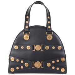 NEW GIANNI VERSACE TRIBUTE BLACK LEATHER MEDALLION Handbag