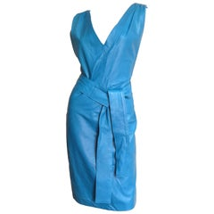 New Gianni Versace Turquoise Leather Dress 1990s