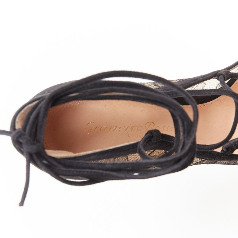 new GIANVITO ROSSI black floral lace nude mesh lace up strappy pump EU38 For Sale 6