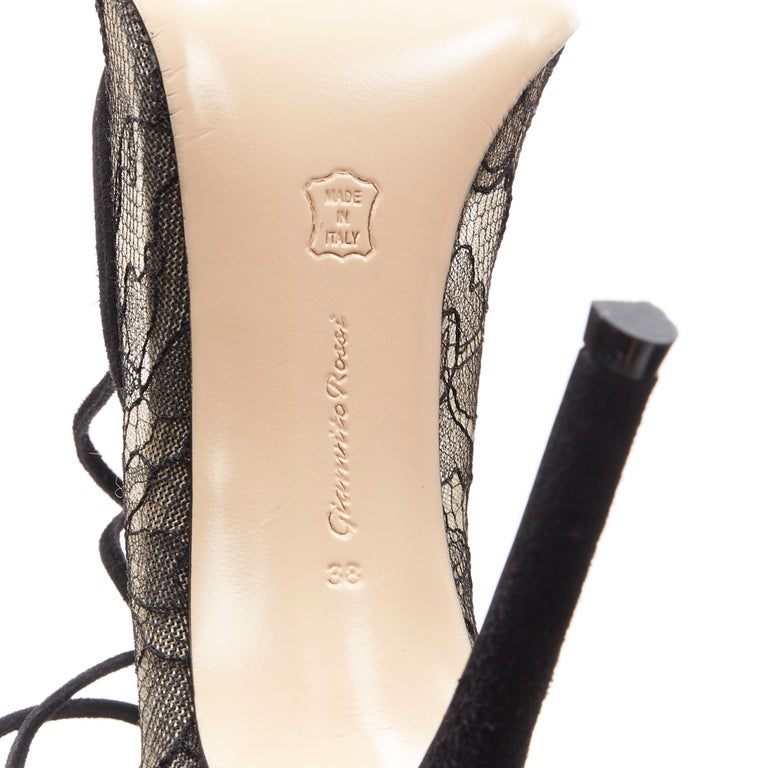 new GIANVITO ROSSI black floral lace nude mesh lace up strappy pump EU38 For Sale 7
