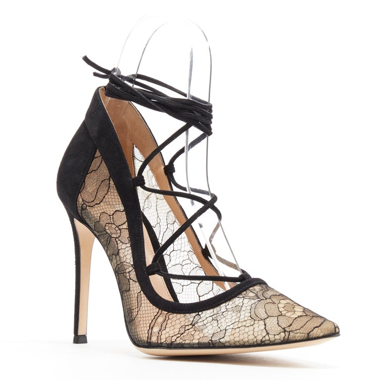 new GIANVITO ROSSI black floral lace nude mesh lace up strappy pump EU38 Brand: Jimmy Choo Designer: Jimmy Choo Model Name / Style: Lace up pump Material: Suede Color: Black Pattern: Floral Closure: Lace up Extra Detail: High (3-3.9 in) heel height.