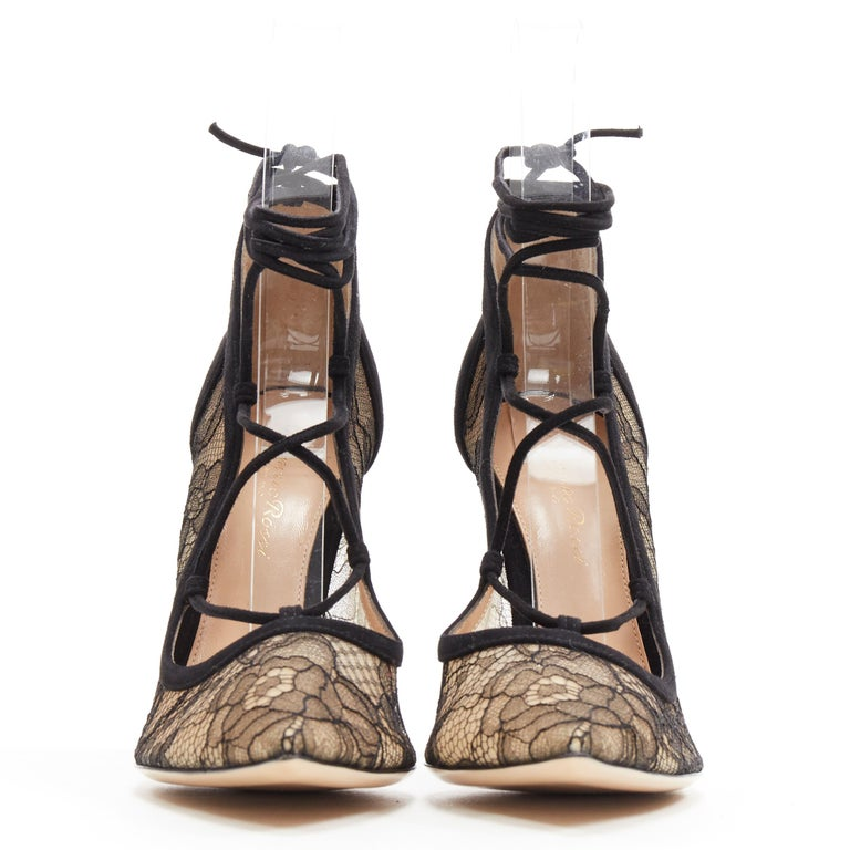 Black new GIANVITO ROSSI black floral lace nude mesh lace up strappy pump EU38 For Sale