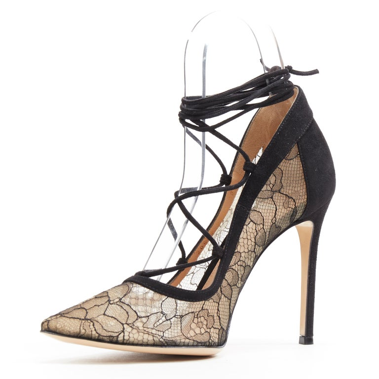 new GIANVITO ROSSI black floral lace nude mesh lace up strappy pump EU38 In New Condition For Sale In Hong Kong, NT