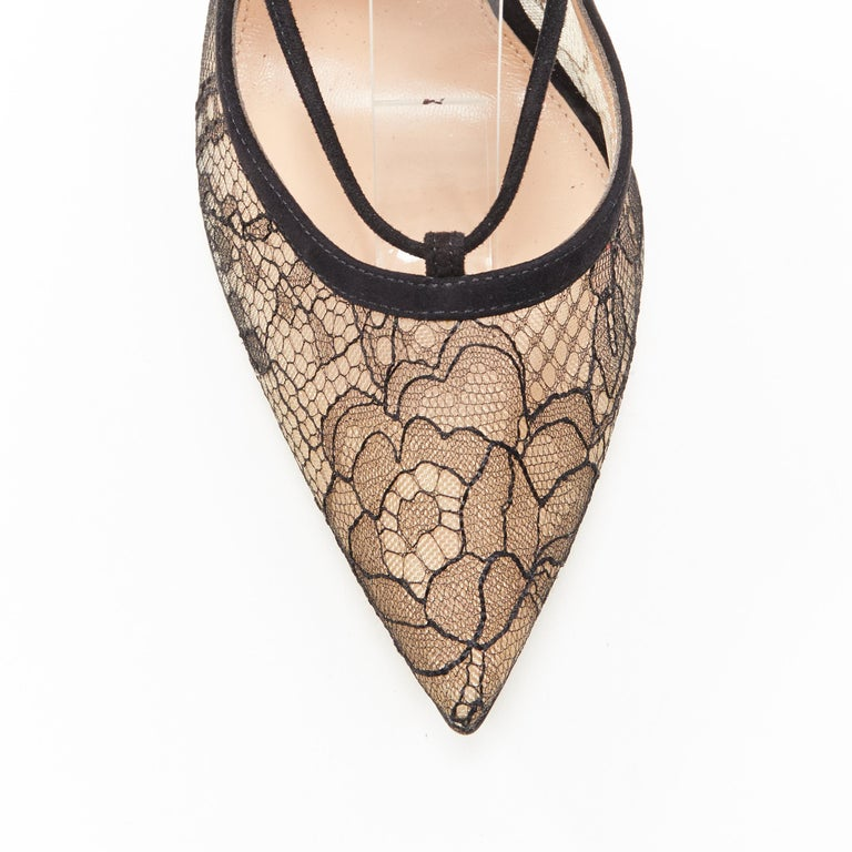 new GIANVITO ROSSI black floral lace nude mesh lace up strappy pump EU38 For Sale 2
