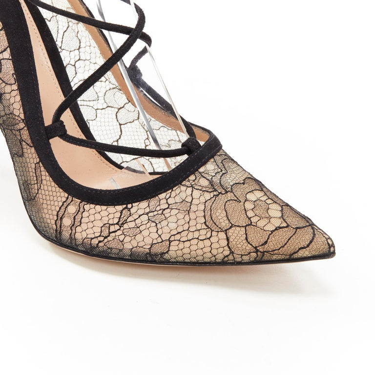 new GIANVITO ROSSI black floral lace nude mesh lace up strappy pump EU38 For Sale 3