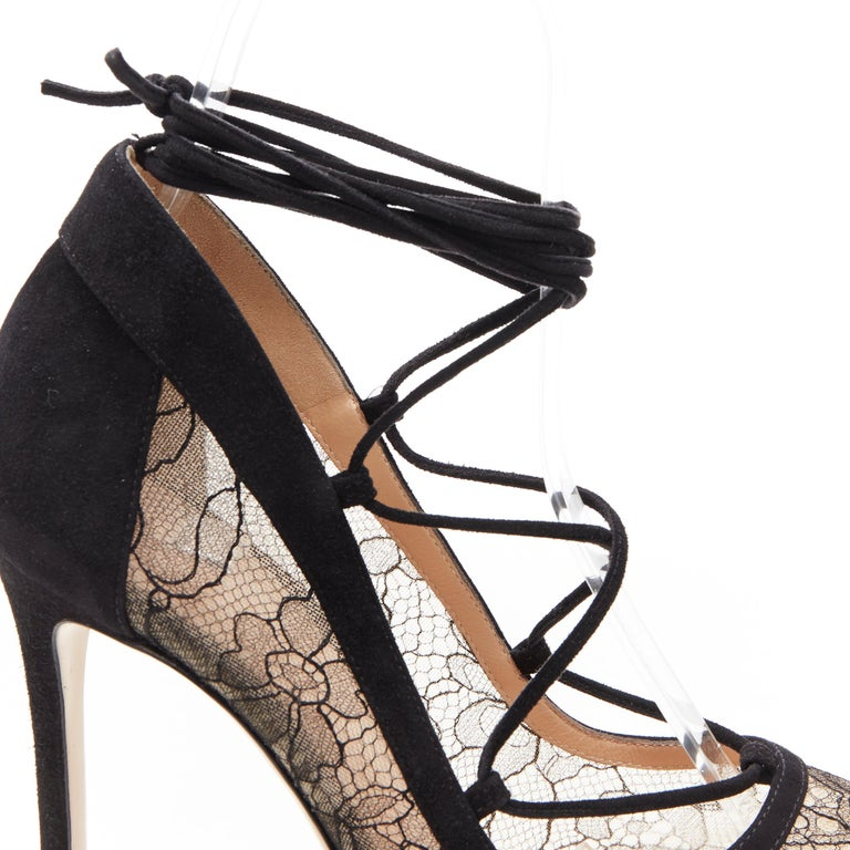new GIANVITO ROSSI black floral lace nude mesh lace up strappy pump EU38 For Sale 4