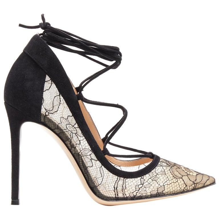 new GIANVITO ROSSI black floral lace nude mesh lace up strappy pump EU38 For Sale