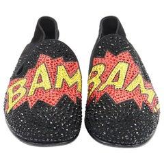 new GIUSEPPE ZANOTTI Bam! crystal embellished pop art black suede loafer EU43