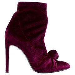 new GIUSEPPE ZANOTTI Bimba 110 burgundy stretch velvet know bot bootie EU39