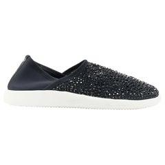 new GIUSEPPE ZANOTTI black crystal strass embellished stretch scuba sneaker EU44