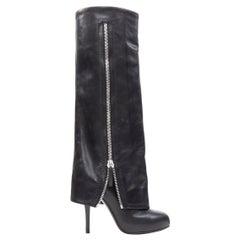 new GIUSEPPE ZANOTTI black leather zipper foldover pant high heel boot EU36