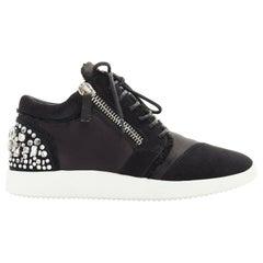 new GIUSEPPE ZANOTTI black satin crystal embellished heel dual zip sneaker EU38