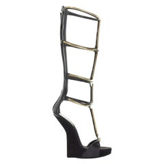 new GIUSEPPE ZANOTTI black suede leather gold bar sculpted heel gladiator EU38