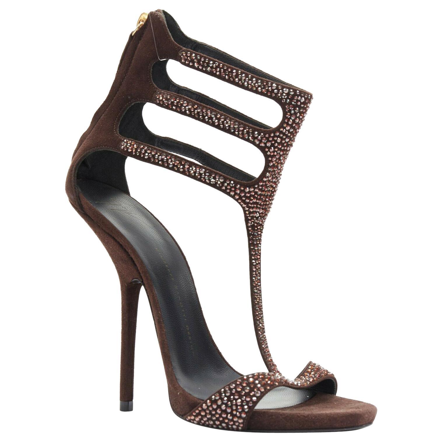 new GIUSEPPE ZANOTTI brown crystal strass T-strap curved heel sandal EU40.5