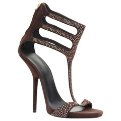 new GIUSEPPE ZANOTTI brown crystal strass T-strap curved heel sandal EU40.5