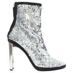 new GIUSEPPE ZANOTTI Luce 2017 silver sequins scuba mirrored heel bootie EU39