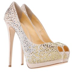 New Giuseppe Zanotti Nude Crystal Beaded Double Platform Heels Pumps It. 38