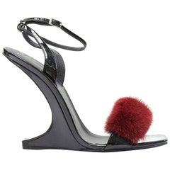 new GIUSEPPE ZANOTTI Picard Winter 2017 red fur strap curved heel sandal EU39