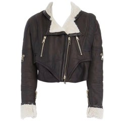 new GIVENCHY shearling lined brown leather cropped aviator biker jacket FR38 S