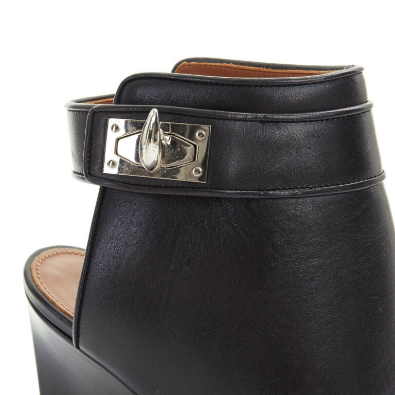 new GIVENCHY TISCI black leather peep toe silver shark tooth lock wedge EU36 For Sale 4