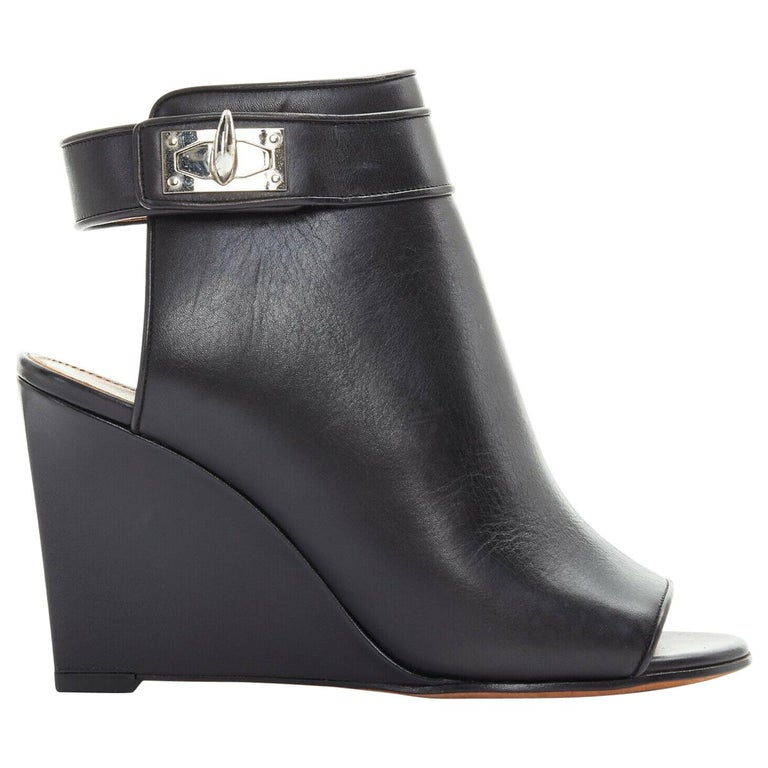 new GIVENCHY TISCI black leather peep toe silver shark tooth lock wedge EU36 For Sale