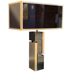 Gold and Black Chrome Metal Lamp with Black-Red Glass Shade