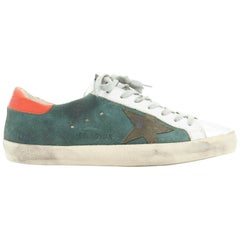 new GOLDEN GOOSE green suede silver toe distressed dirty lace up sneaker EU41