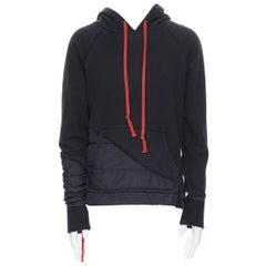 new GREG LAUREN 50/50 Black Puffy Hoodie hooded puffer deconstructed sweater S