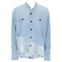 new GREG LAUREN 50/50 Chambray Denim Boxy Studio Shirt blue distressed top S