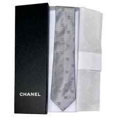 NEW Grey Chanel CC Logo Print Jacquard Silk Tie