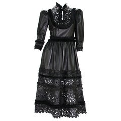 New Gucci $14000 Resort 2017 Gothic Black Laser-Cut Lamb Leather Dress It. 40