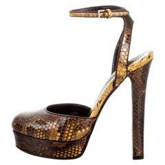 New Gucci 90th Anniversary Ad Runway Python Skakeskin Pump Heels Sz 36.5   $2425