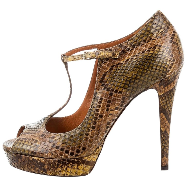 New Gucci 90th Anniversary Ad Runway Python Snakeskin Pump Heels Sz 37  For Sale