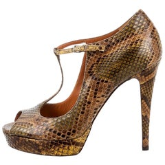New Gucci 90th Anniversary Ad Runway Python Snakeskin Pump Heels Sz 37