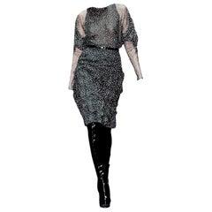 New Gucci 90th Anniversary Ad Runway Silk Dress F/W 2011 Sz 40 $2975