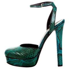 New Gucci 90th Anniversary Fall Runway Python Skakeskin Pump Heels Sz 37   $2425