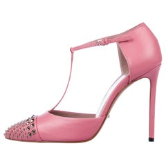 New Gucci Absolutely Stunning Pink Studded Heels Pumps Sz 39