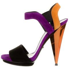New Gucci Ad Runway 2014 Purple Orange Suede Mirrored Pump Heels Sz 38