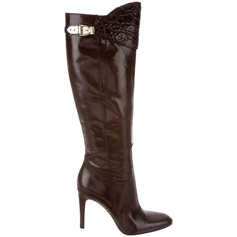 New Gucci Alligator and Leather Boots Rare Fall Winter 2005 Sz 6.5 For Sale