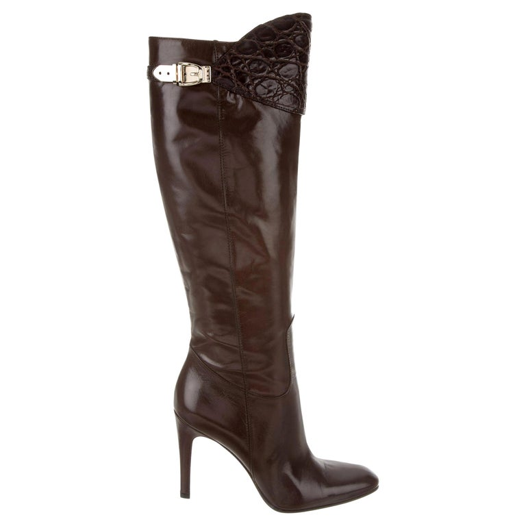 New Gucci Alligator and Leather Boots Rare Fall Winter 2005 Sz 8.5 For Sale