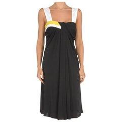 New GUCCI BLACK DRAPED STRETCH JERSEY DRESS 42 - 8