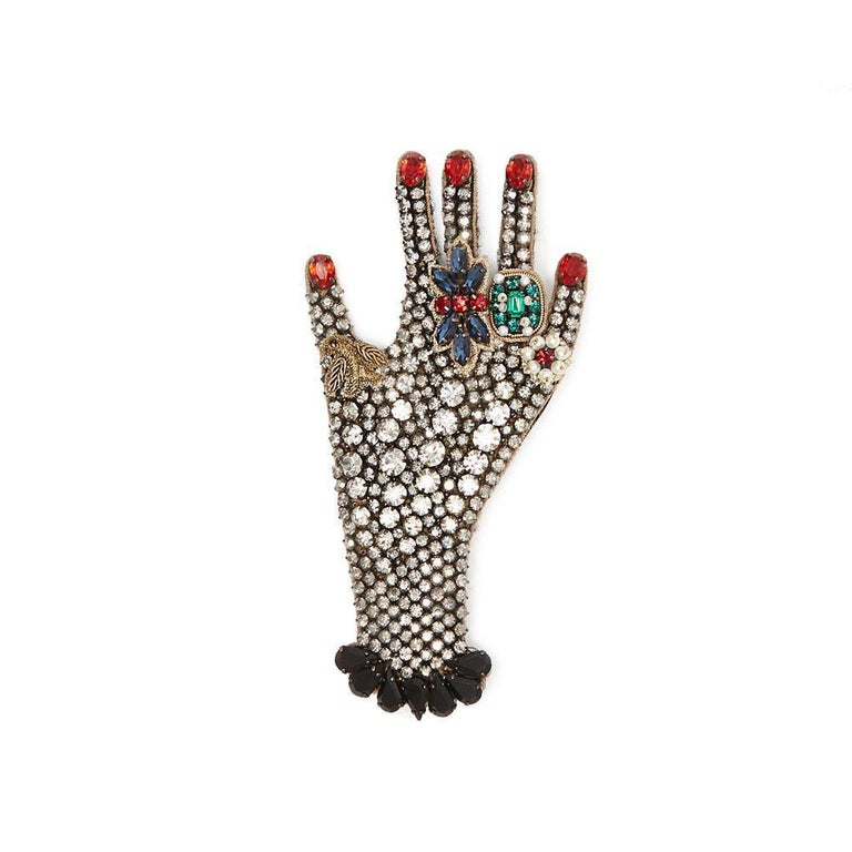 Women's New GUCCI black hand crystal  embellished brooch For Sale