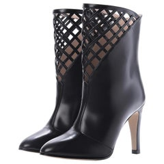 New Gucci Black Lattice Boots Booties With Box Sz 38.5